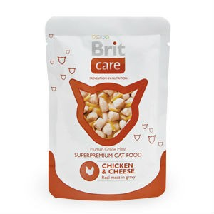 Brit Care Cat пауч для взрослых кошек и котов (Курица и сыр) 80 гр / Brit Care pouch (Chicken and cheese ) 80 gr