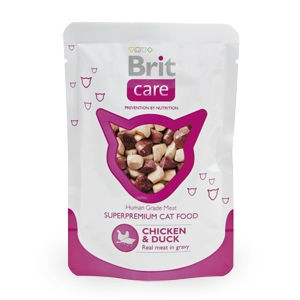 Brit Care Cat пауч для взрослых кошек и котов (Курица и утка) 80 гр / Brit Care pouch (Chicken and duck) 80 gr